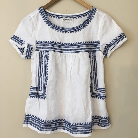259a84f2f90fa8 Madewell Tops - RARE Madewell linen folktale white and blue top S